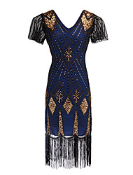 cheap -The Great Gatsby Charleston 1920s Vintage Flapper Costume Vacation Dress Flapper Dress Prom Dress Women's Sequins Costume Golden / Black / Blue Vintage Cosplay Party Homecoming Prom Short Sleeve Knee