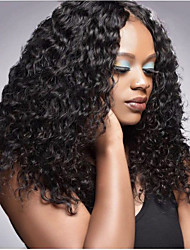cheap -Virgin Human Hair Lace Front Wig Deep Parting Rihanna style Brazilian Hair Curly Black Wig 250% Density with Baby Hair Natural Best Quality Thick with Clip Women's Medium Length Human Hair Lace Wig