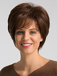 cheap -Human Hair Blend Wig Short Natural Straight Bob Brown Fashionable Design Easy dressing Comfortable Capless Women's Brown Medium Auburn#30 Jet Black #1 8 inch / Natural Hairline