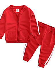 cheap -Baby Boys' Casual / Basic Daily / Sports Solid Colored Long Sleeve Regular Regular Cotton Clothing Set Blushing Pink / Toddler