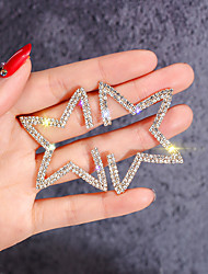 cheap -Women's White Stud Earrings Classic European Trendy Rhinestone Gold Plated Earrings Jewelry Gold For Daily 1 Pair