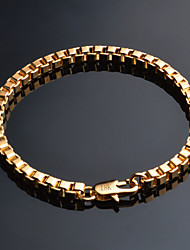 cheap -Men's Chain Bracelet Cuban Link Baht Chain Classic Vintage Gold Plated Bracelet Jewelry Gold For Daily Office & Career