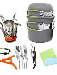 cheap -ARDI® Camping Cookware Mess Kit Camping Pot Dinnerware Set Pot Rack & Accessories Utensils Lightweight for 1 - 2 person Stainless steel Aluminium Alloy Outdoor Hiking Camping Green Orange