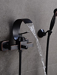 cheap -Bathroom Sink Faucet - Waterfall Black Centerset Single Handle Two HolesBath Taps