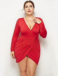 cheap -Women's Plus Size Bodycon Dress - Long Sleeve Solid Colored Cut Out Spring Fall Deep V Street chic Holiday Butterfly Sleeves Belt Not Included White Black Red Royal Blue L XL XXL XXXL / Sexy / Cotton