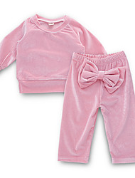 cheap -Baby Girls' Street chic Daily Solid Colored Long Sleeve Regular Clothing Set Blushing Pink / Toddler
