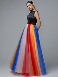 cheap -A-Line Jewel Neck Floor Length Satin / Tulle Elegant Prom Dress with Pattern / Print 2020