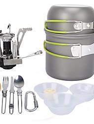 cheap -ARDI® Camping Cookware Mess Kit Camping Pot Dinnerware Set Pot Rack & Accessories Utensils Lightweight for 1 - 2 person Stainless steel Aluminium Alloy Outdoor Hiking Camping Green
