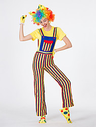 cheap -Burlesque Clown Circus Party Costume Adults' Women's Funny & Reluctant Halloween Christmas Halloween Carnival Festival / Holiday Polyster Yellow Female Carnival Costumes Stripes
