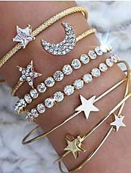 cheap -Women's Bracelet Layered Heart Star Simple European Trendy Rhinestone Bracelet Jewelry Gold / Silver For Party Daily