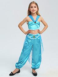 cheap -Aladdin Princess Jasmine Cosplay Costume Flower Girl Dress Kid's Girls' A-Line Slip Halloween Christmas Halloween Carnival Festival / Holiday Polyster Blue Carnival Costumes Princess / 1 Hair Jewelry