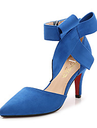 cheap -Women's Suede Spring & Summer Sweet Heels Stiletto Heel Pointed Toe Bowknot Black / Red / Blue