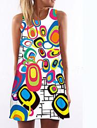 cheap -Women's Daily Slim Shift Dress - Geometric Print White L XL XXL