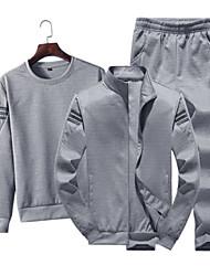 abordables -Homme Mince Col Arrondi Manches Longues Sportif / Basique Activewear Set Couleur Pleine