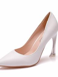 cheap -Women's PU(Polyurethane) Spring &  Fall Minimalism Wedding Shoes Heterotypic Heel Pointed Toe Crystal White
