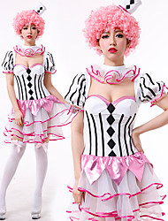 cheap -Burlesque Clown Circus Dress Party Costume Adults' Women's Funny & Reluctant Halloween Christmas Halloween Carnival Festival / Holiday Polyster Pink Female Carnival Costumes Stripes