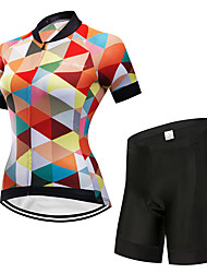 cheap -FirtySnow Women's Short Sleeve Cycling Jersey with Shorts Orange Plaid / Checkered Bike Clothing Suit Breathable Moisture Wicking Quick Dry Sports Polyester Plaid / Checkered Mountain Bike MTB Road