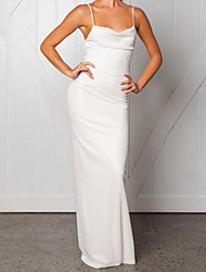 cheap -Women's Party Birthday Maxi Slim Sheath Dress - Solid Colored Backless Halter Neck Spring White M L XL / Sexy