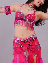 cheap -Belly Dance Outfits Women's Training / Performance Polyester Crystals / Rhinestones Sleeveless Dropped Bra / Waist Accessory
