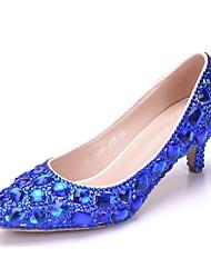 cheap -Women's PU(Polyurethane) Spring &  Fall Sweet Wedding Shoes Kitten Heel Pointed Toe Rhinestone / Sparkling Glitter Gold / Purple / Royal Blue / Camouflage