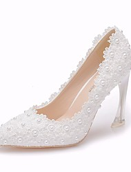 cheap -Women's Lace / PU(Polyurethane) Spring &  Fall Minimalism Wedding Shoes Heterotypic Heel Pointed Toe Crystal / Imitation Pearl / Satin Flower White