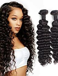 Недорогие -3 Связки Бразильские волосы Крупные кудри Не подвергавшиеся окрашиванию 300 g Человека ткет Волосы Аксессуары для костюмов Пучок волос 8-28 дюймовый Естественный цвет Ткет человеческих волос