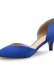 cheap -Women's Suede Spring & Summer Minimalism Heels Low Heel Pointed Toe Blue / Almond / Burgundy