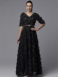 cheap -A-Line Elegant & Luxurious Elegant Prom Dress V Neck Half Sleeve Floor Length Tulle with Sash / Ribbon Lace Insert 2020