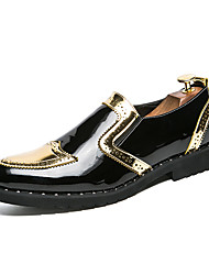 cheap -Men's Formal Shoes PU Spring & Summer / Fall & Winter Casual / British Loafers & Slip-Ons Color Block Black / Gold / Silver / Party & Evening