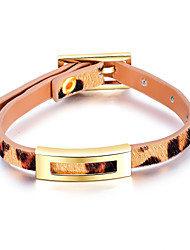 cheap -Women's Leather Bracelet Crossover Korean Fashion Titanium Steel Bracelet Jewelry Gold For Daily / Fur / Gold Plated