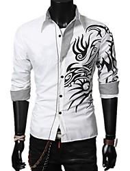 cheap -Men's Geometric Color Block Shirt Basic Daily White / Black / Purple / Red / Long Sleeve