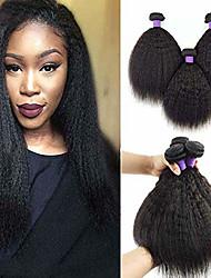 Недорогие -6 Связок Естественные прямые Не подвергавшиеся окрашиванию человеческие волосы Remy Головные уборы Человека ткет Волосы Уход за волосами 8-28 дюймовый Естественный цвет Ткет человеческих волос