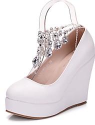 cheap -Women's PU(Polyurethane) Spring &  Fall Sweet Wedding Shoes Wedge Heel Round Toe Rhinestone / Buckle / Tassel Light Blue / Light Pink / Royal Blue