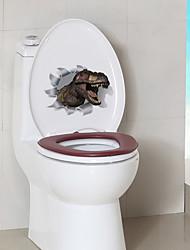 cheap -Cartoon Dinosaur Toilet Stickers - Animal Wall Stickers Animals Bathroom / Indoor