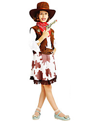 cheap -Westworld West Cowboy Cowboy Costumes Flower Girl Dress Kid's Girls' A-Line Slip Outfits Christmas Halloween Carnival Festival / Holiday Polyster Coffee Carnival Costumes Printing / Vest / Scarf