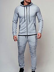 cheap -Men's Basic Hoodie / Activewear Set - Solid Colored Wine XL
