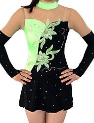 cheap -Rhythmic Gymnastics Leotards Artistic Gymnastics Leotards Women's Girls' Leotard Green High Elasticity Handmade Print Jeweled Long Sleeve Competition Ballet Dance Ice Skating Rhythmic Gymnastics