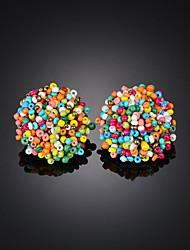 cheap -Women's Stud Earrings Beads Ball Boho Resin Earrings Jewelry Black / Rainbow / Green For Party Street 1 Pair
