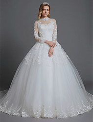 cheap -Ball Gown High Neck Chapel Train Lace / Tulle Long Sleeve Made-To-Measure Wedding Dresses with Lace 2020