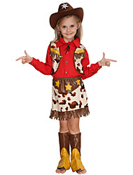 cheap -Westworld West Cowboy Cowboy Costumes Flower Girl Dress Kid's Girls' A-Line Slip Outfits Active Christmas Halloween Carnival Festival / Holiday Cotton Polyster Red Carnival Costumes Stars / Top / Hat