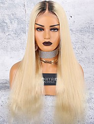 cheap -Virgin Human Hair 360 Frontal 13x6 Closure Wig Deep Parting Kardashian style Brazilian Hair Natural Straight Blonde Wig 150% Density with Baby Hair Thick Updo with Clip With Bleached Knots Women's