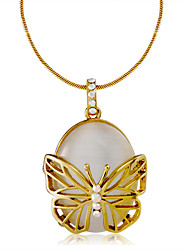 cheap -Women's White Cubic Zirconia Pendant Necklace Snake Butterfly Trendy Sweet Fashion Gold Plated Chrome Imitation Diamond Gold 44 cm Necklace Jewelry 1pc For Evening Party Formal