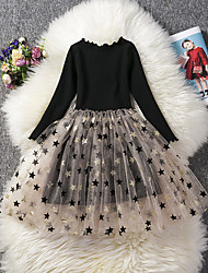 cheap -Kids Girls' Cute Solid Colored Lace Sequins Long Sleeve Knee-length Dress Black
