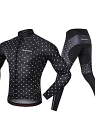 cheap -Realtoo Men's Long Sleeve Cycling Jersey with Tights Black Bike Clothing Suit 3D Pad Sports Spandex Classic Mountain Bike MTB Road Bike Cycling Clothing Apparel / Micro-elastic / Triathlon