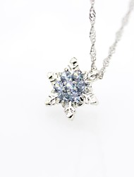 cheap -Women's Pendant Necklace Classic Snowflake Trendy Cute Rhinestone Alloy Blue Light Blue 45 cm Necklace Jewelry 1pc For Daily Street