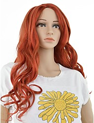 cheap -Synthetic Wig Curly Deep Parting Wig Long Red Synthetic Hair 24 inch Women's Synthetic Red