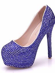 cheap -Women's PU(Polyurethane) Spring &  Fall Sweet Wedding Shoes Platform Round Toe Rhinestone Blue