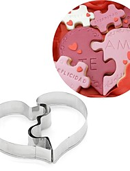 cheap -2pcs Set Combined Half Heart Cookies Cutter Wedding Lover Stainless Steel Biscuit Cake Mold