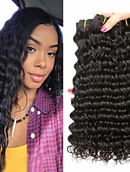 Недорогие -4 Связки Перуанские волосы Крупные кудри 100% Remy Hair Weave Bundles 200 g Человека ткет Волосы Пучок волос Накладки из натуральных волос 8-28inch Естественный цвет Ткет человеческих волос