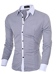 cheap -Men's Solid Colored Slim Shirt Business Basic Daily Going out Work Classic Collar White / Black / Blue / Blushing Pink / Gray / Fall / Long Sleeve